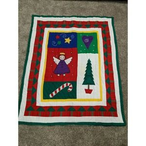 59 X 48 Handmade Christmas Quilt Angel Candy Cane